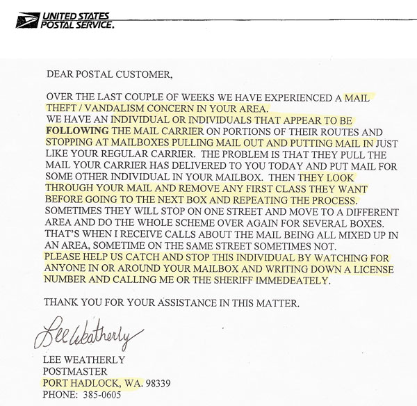 Port Hadlock Postmaster Warns Of Mail Thefts Mailboss