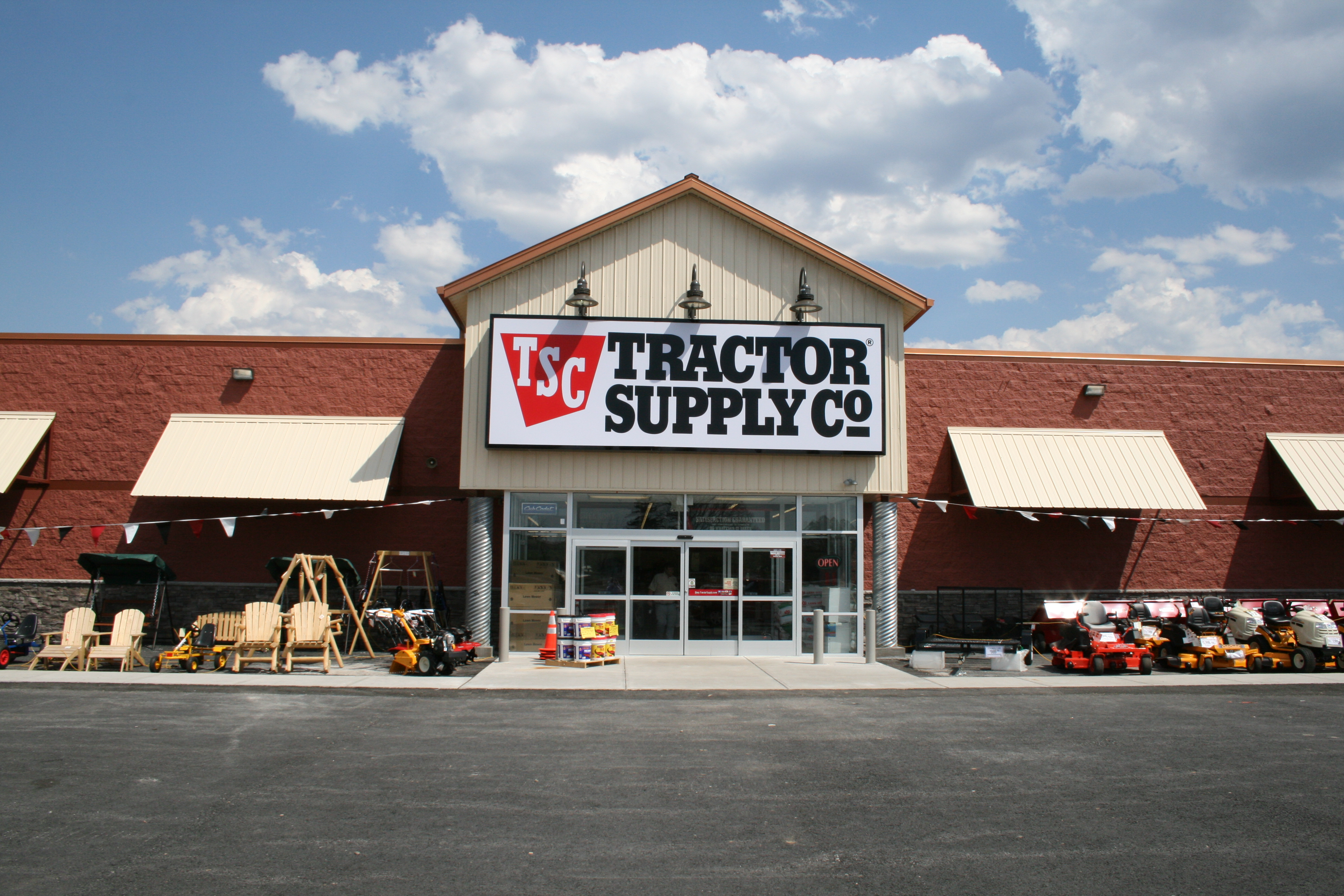 Tractor Supply Company is a chain of retail stores that sells farm and ranch goods. They are located in 49 out of 50 US states. Tractor Supply has consistent hour across their network of stores. They are open from 8 am until 9 pm Monday through Saturday and on Sunday they are open from 9 am until 7 pm.