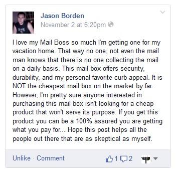 """Love My Mail Boss"" Testimonial on Facebook"