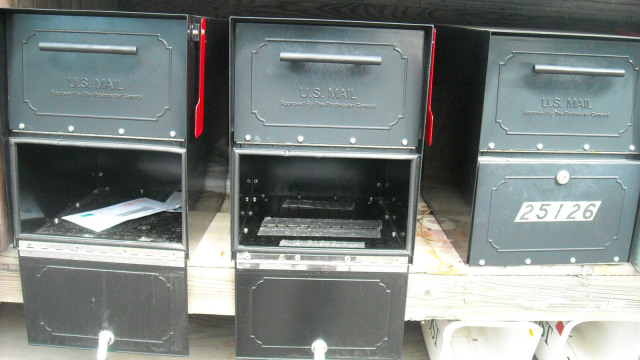 Oasis Jr Architectural Mailboxes Pried Open