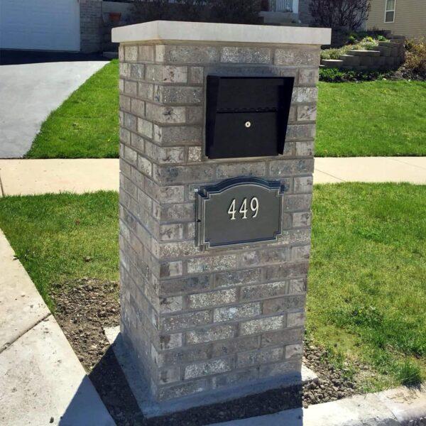 curb appeal Locking brick mailbox post cinderblock concrete brick and stacked stone concrete masonry faux stone veneer column locking mailbox insert Modern Architectural Epoch Design