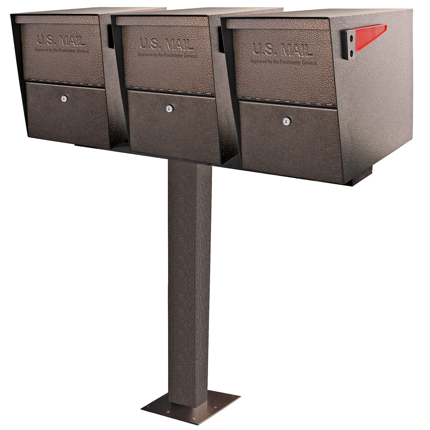 Mount Multiple outdoor mailboxes with the easy to install 4 mailbox spreader bar by mail boss