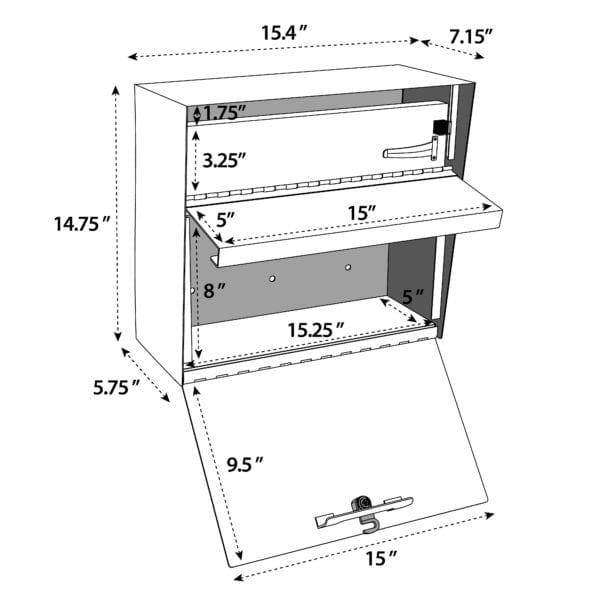 modern wall mount lockable mailbox line drawing Modern Architectural Epoch Design epic mailbox