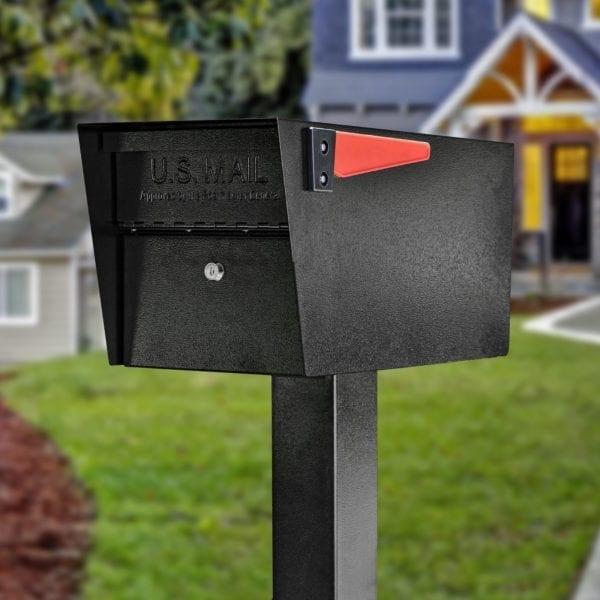 Easy to install universal hole pattern Modern contemporary Heavy duty Steel post mount parcel rural locking mailbox kit Modern Architectural Epoch Design