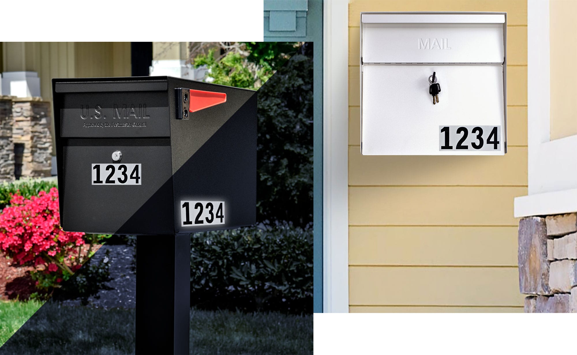 Reflective house numbers for mailbox, address numbers for mailbox outside Modern Architectural Epoch Design epic mailbox