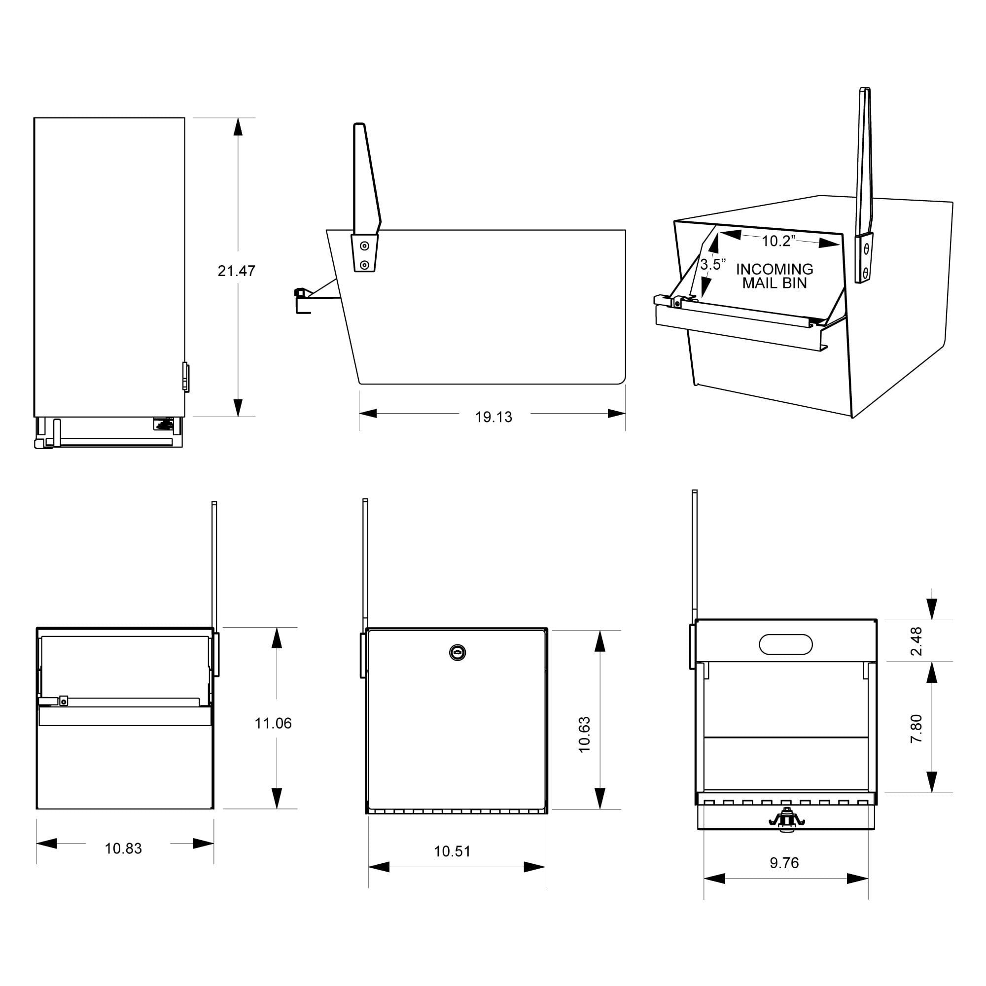 Street Safe Street Safe 2 Door, front and back door Locking mailbox measurements dimensions
