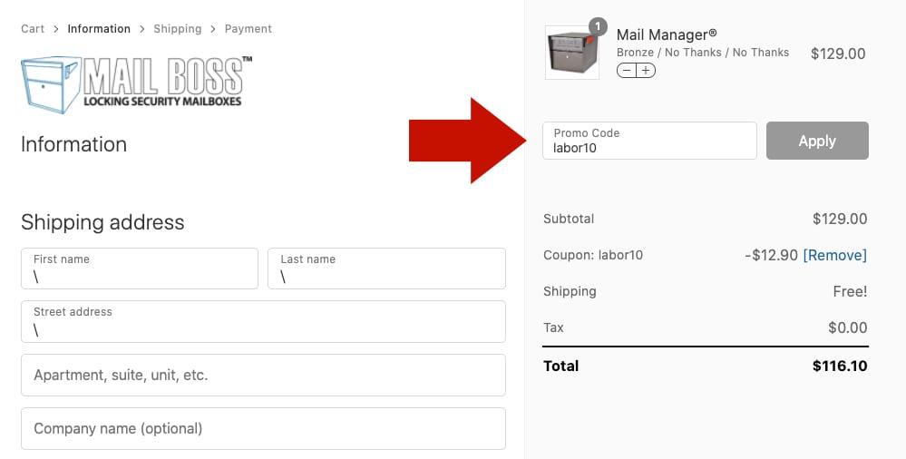 Enter promo code at checkout