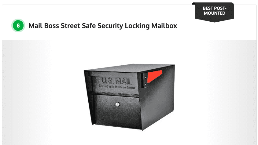 Mail manager street safe latitude: If you don't want a mail carrier coming up to your door every day, or you just prefer the functionality and aesthetic of a post-mounted mailbox, the Mail Boss Street Safe Dual-Locking Mailbox is a worthy option for your tastes. The 14- and 16- gauge galvanized steel is an excellent deterrent against vandalism and the stainless steel hinges are resistant to the elements, ensuring your mailbox lasts a long time.  The dual-locking design lets you access your mail with one of the three included keys from the back of the box. The mailbox measures 21 inches deep by 11.25 inches high by 10.75 inches wide and is secured with two 12-disc wafer locks with anti-pick and anti-drill ratings. Your mail is further protected by an interior baffle door to prevent fishing and an anti-pry latch so the mailbox cannot be forced open with a prying tool, like a screwdriver.""