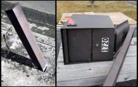 Packge Master Mailbox survives strike by drunk driver.